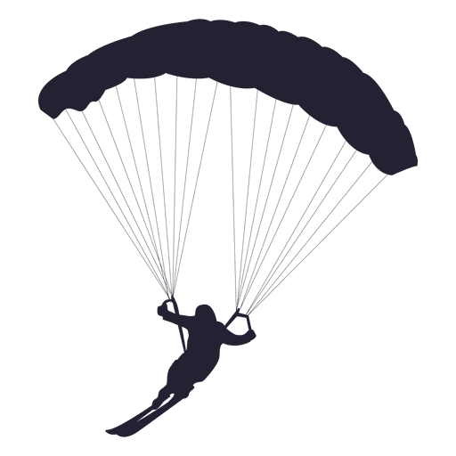 Ski parachute gliding silhouette