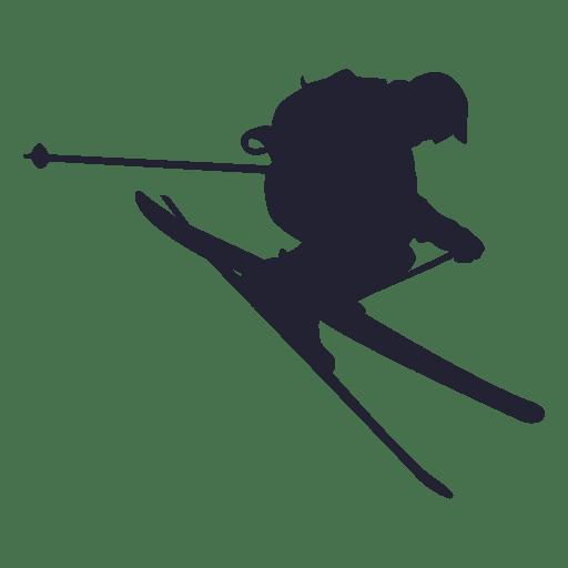 Esqui deslizando na silhueta de salto Transparent PNG