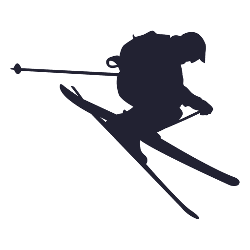 Ski sliding in jump silhouette Transparent PNG