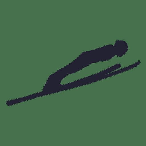 Ski horizontal jump silhouette Transparent PNG