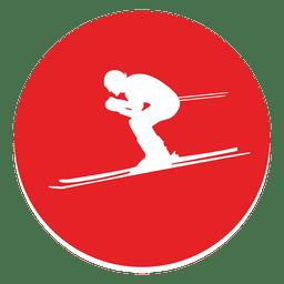 Icono de círculo de esquí