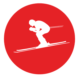 Skiing circle icon