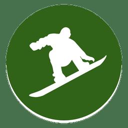 Icono de círculo de snowboard