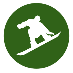 Snowboarding circle icon