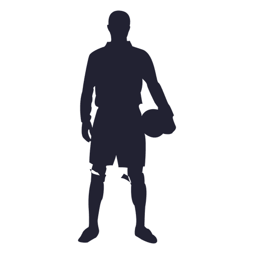 Soccer player standing silhouette