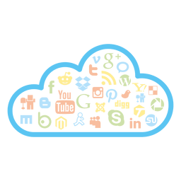 Iconos de la nube de redes sociales