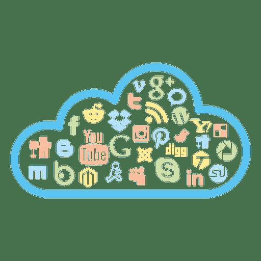 Ícones de nuvem de mídia social