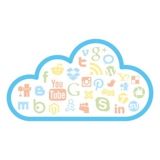Social media cloud icons Transparent PNG