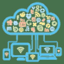 Concepto de red social en la nube.