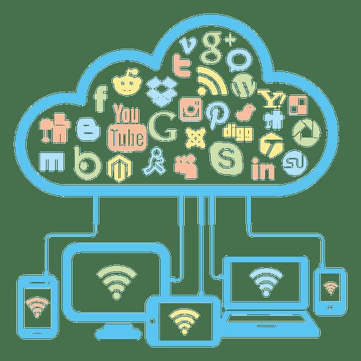 Concepto de red social en la nube. Transparent PNG