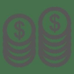 Pilha, de, moedas, ícone