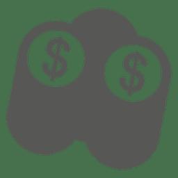 Pilha, de, dólar, moedas, ícone