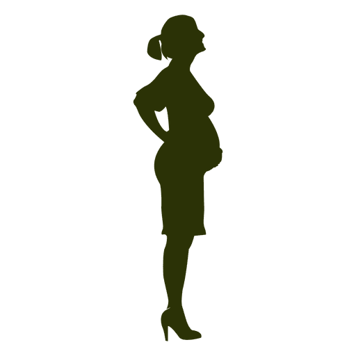 Standing pregnant woman silhouette Transparent PNG
