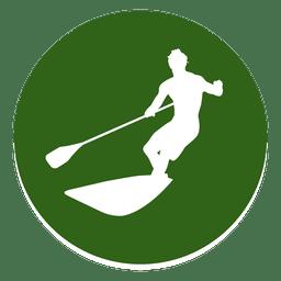 Surfando o ícone de círculo de esporte
