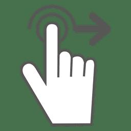 Deslizar el icono de gesto derecho