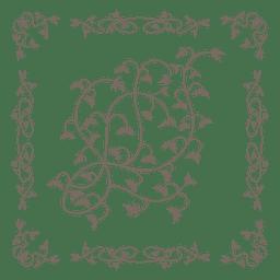 Borde floral remolino adornado dentro