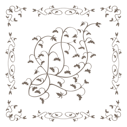 Swirling floral border ornate inside Transparent PNG