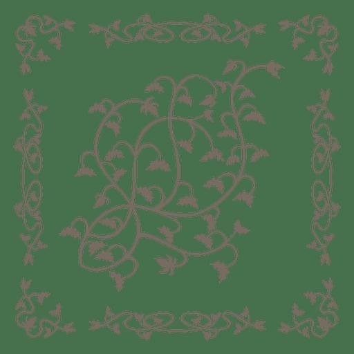 Swirling floral border ornate inside