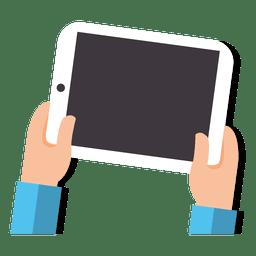 Tablet en manos de dibujos animados
