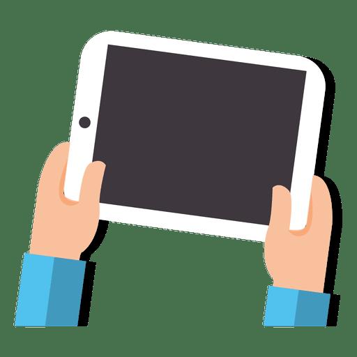 Tablet on hands cartoon