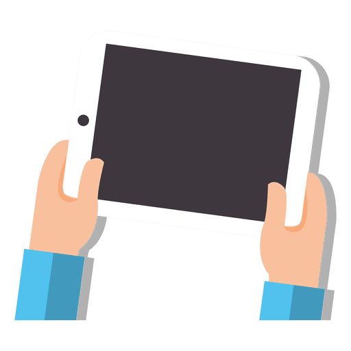 Tableta en dibujos animados de manos