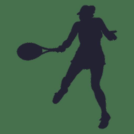 Silueta de niña de jugador de tenis Transparent PNG