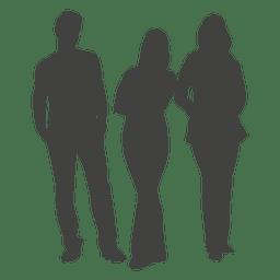 Schattenbild der Gruppe mit drei Leuten