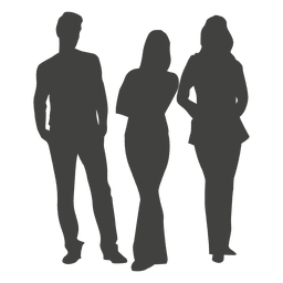 Three people group silhouette