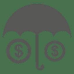 Signo de dólar paraguas debajo