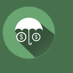 Icono de círculo de dólares de paraguas