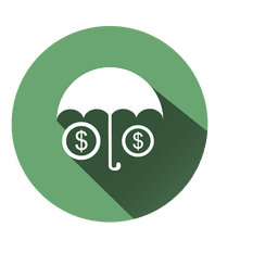 Regenschirm-Dollar-Kreis-Symbol