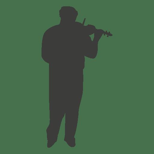 Silueta de violinista musico Transparent PNG