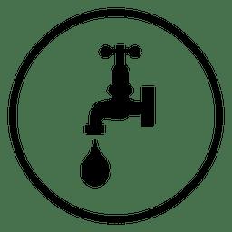 Icono de círculo de grifo de agua
