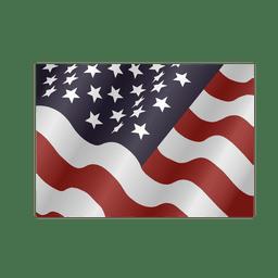 Ondeando bandera cuadrada de Estados Unidos