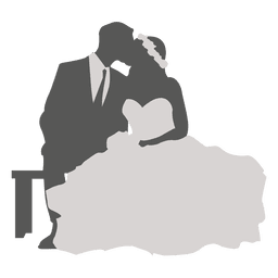 Boda pareja besándose silueta 2
