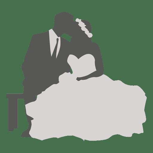 Boda pareja besándose silueta 2 Transparent PNG