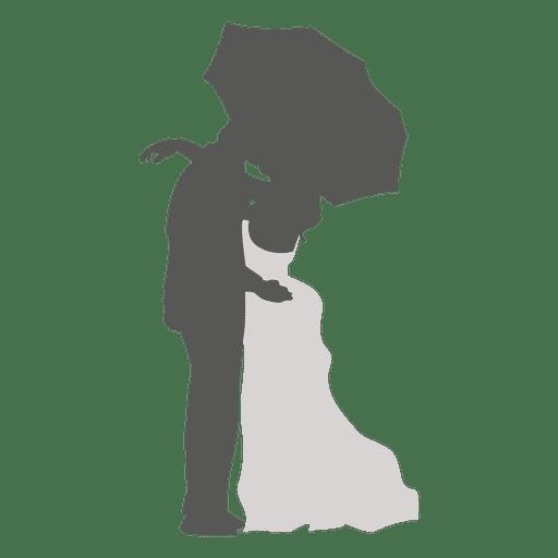 Boda pareja besándose bajo paraguas Transparent PNG