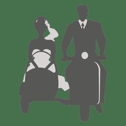 Wedding couple on sidecar