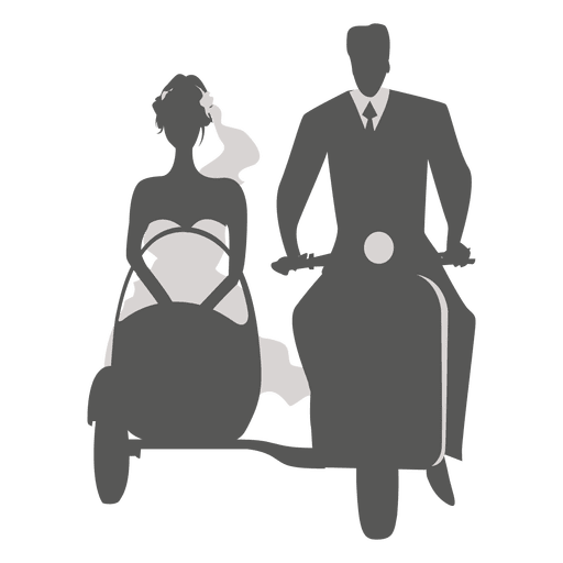 Wedding couple on sidecar Transparent PNG