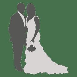 Wedding couple posing silhouette