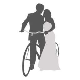 Wedding couple romancing with bicycle