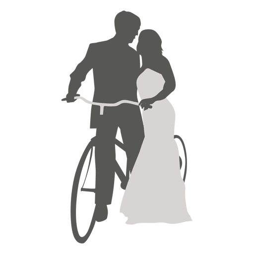 Wedding couple romancing with bicycle Transparent PNG