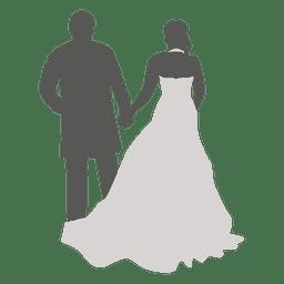 Casal de noivos andando de volta a silhueta