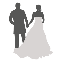 Wedding couple walking back silhouette
