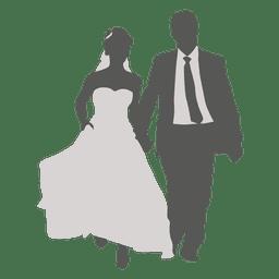 Casal de noivos andando silhueta 2