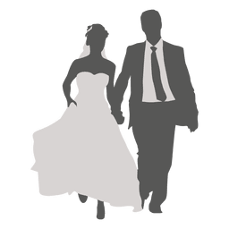 Wedding couple walking silhouette 2