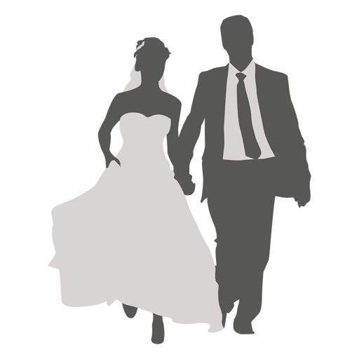 Wedding couple walking silhouette 2 Transparent PNG