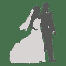 Pares do casamento silhueta caminhando 3
