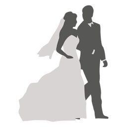 Wedding couple walking silhouette 3