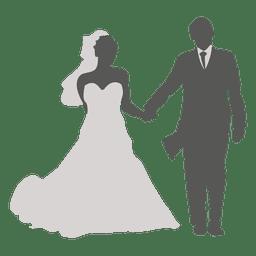 Casal de noivos andando silhueta 4
